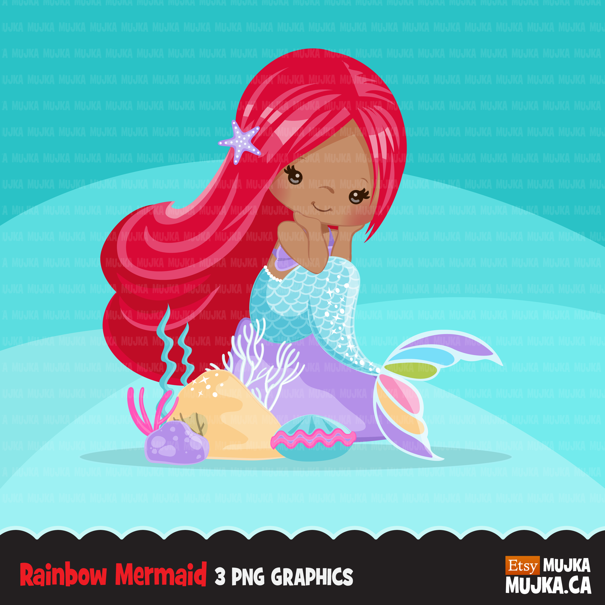 Little mermaid clipart, dark skin mermaid with red hair clip art, GIRL  SUMMER.