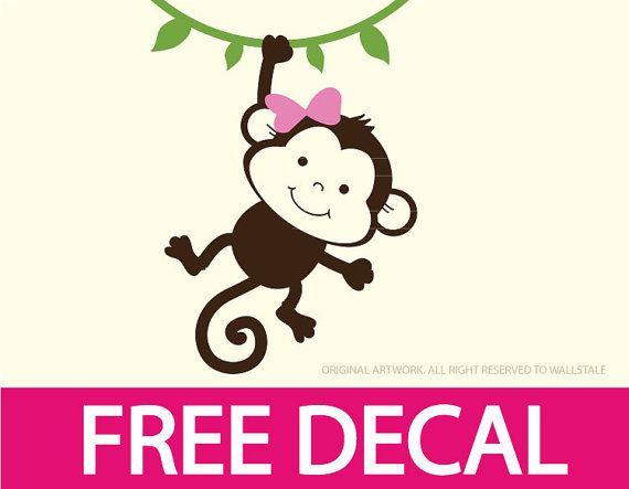 Boy or Girl Monkey wall decal with a free random by wallstaledecor.