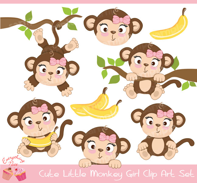 Cute Little Monkey Girl Clipart Set.