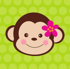 Printable Girl Monkey Face Cut Outs.