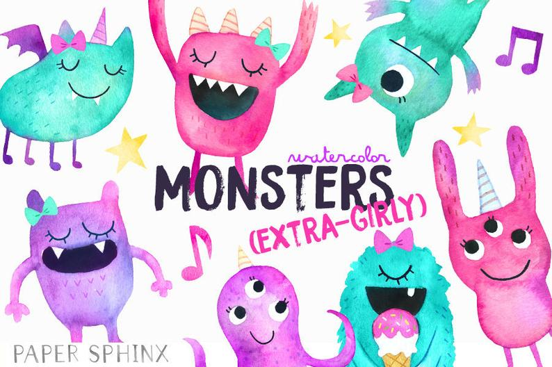 Watercolor Girly Monsters Clipart.