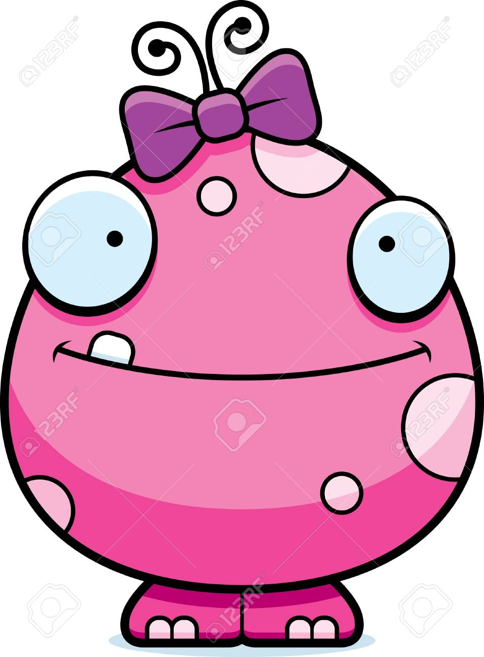 A cartoon illustration of a baby girl monster looking happy..