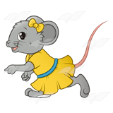 Girl Mouse, with a yellow dress and bow.