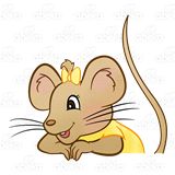 Girl Mouse, with yellow dress and bow.