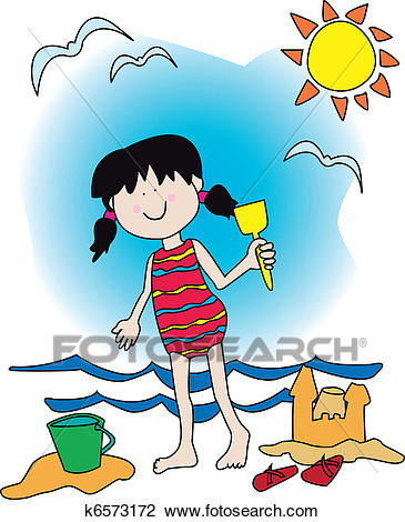 Little girl at the beach Clipart.