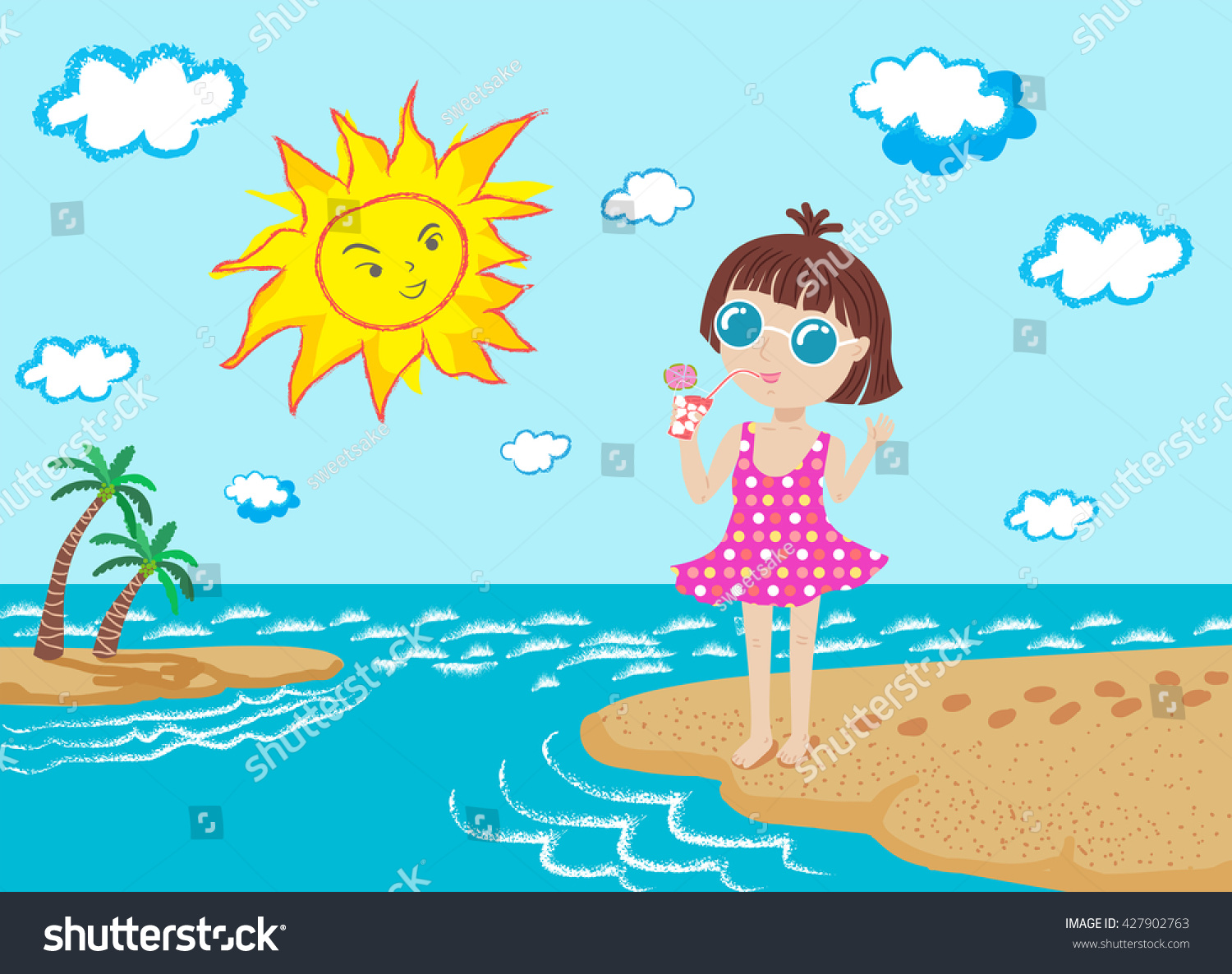 Happy Girl Sun On Beach Vector Stock Vector (Royalty Free) 427902763.