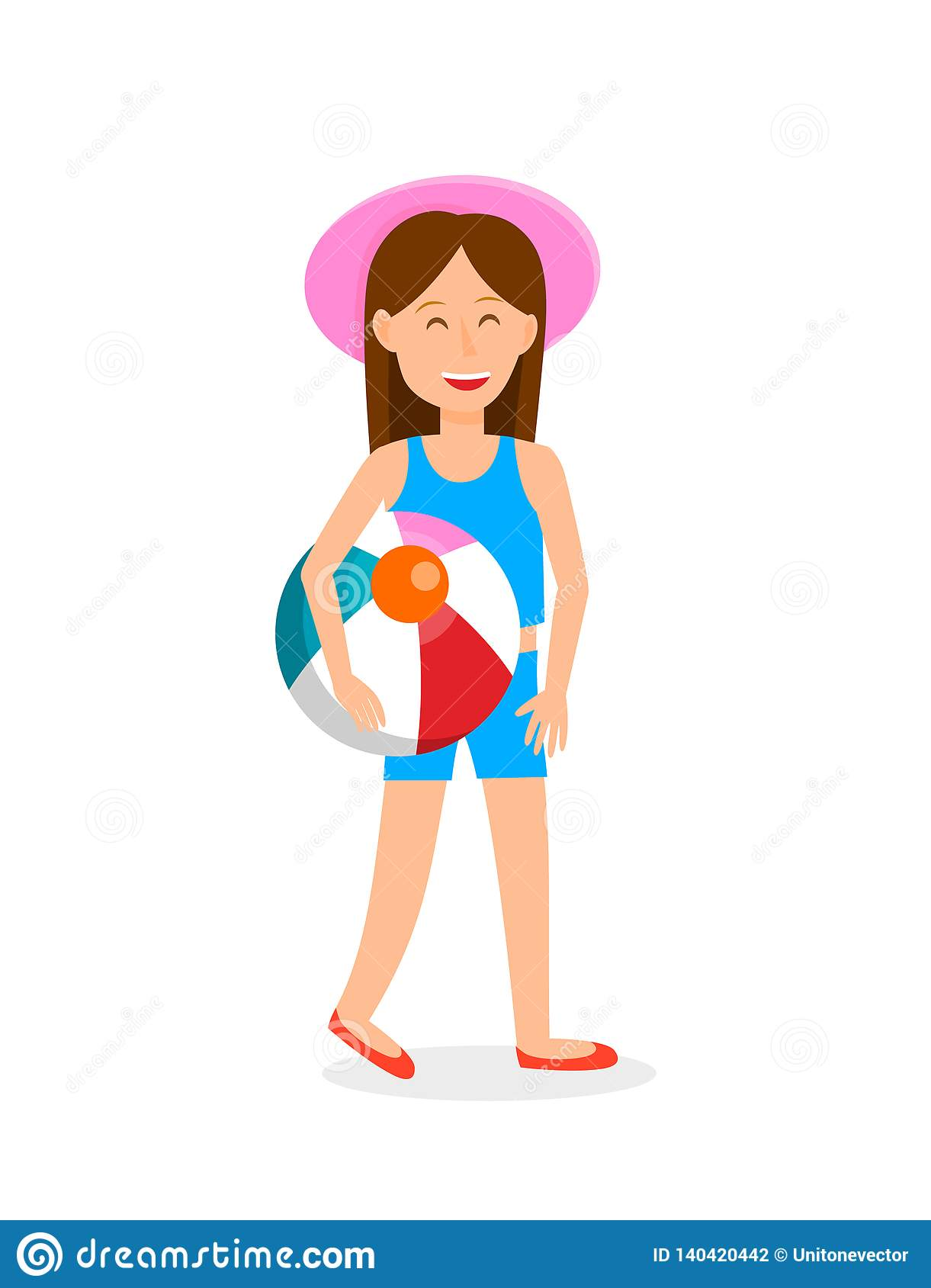 Young Girl With Beach Ball Vector Illustration Stock Vector.