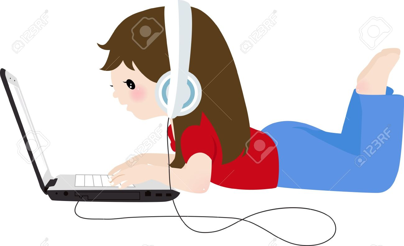 Girl With Laptop Clipart.
