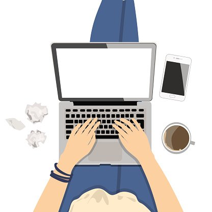 Girl with laptop. Clipart Image.