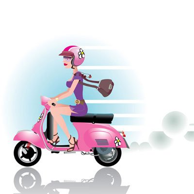 Girl with bike scooter Clipart Picture Free Download.