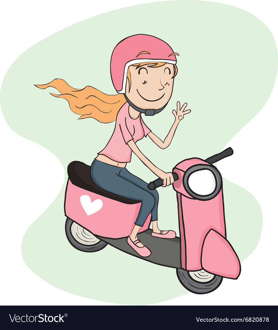 Girl riding riding scooter.