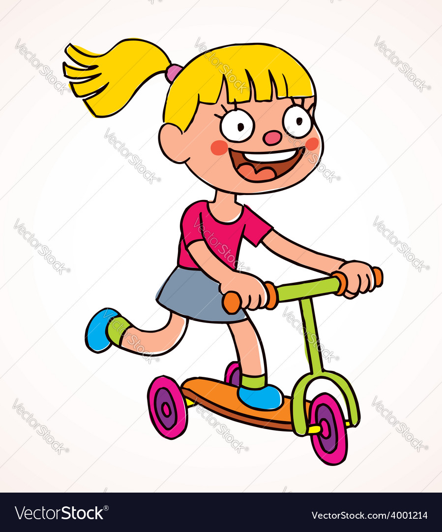 Little girl riding scooter.