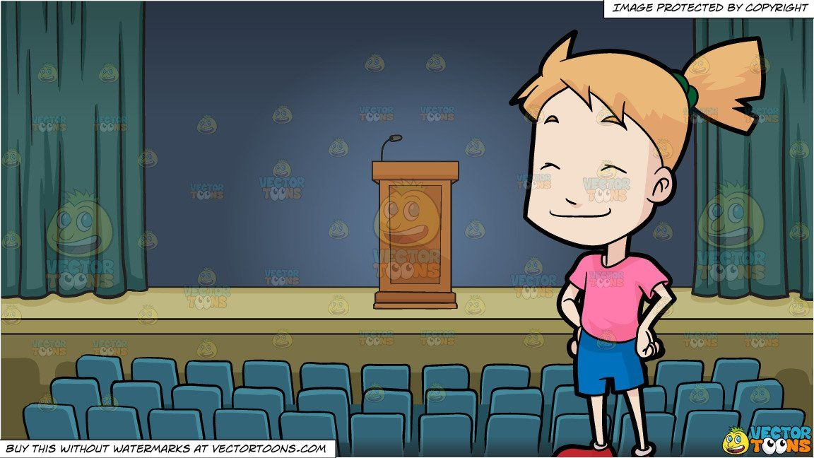 A Girl Closing Her Eyes In Glee and A Podium On A Stage In.