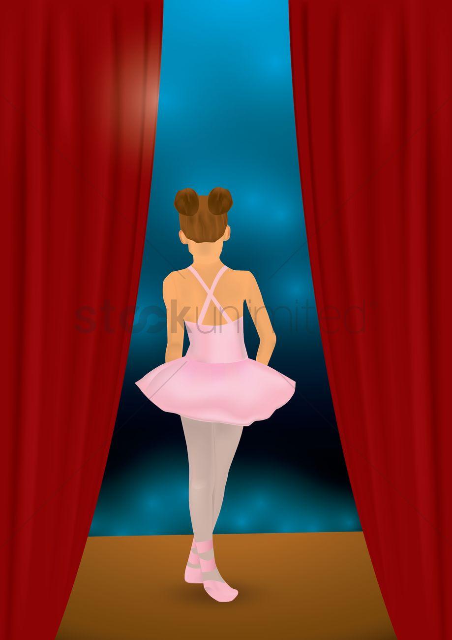 Ballerina girl dancing on stage Vector Image.