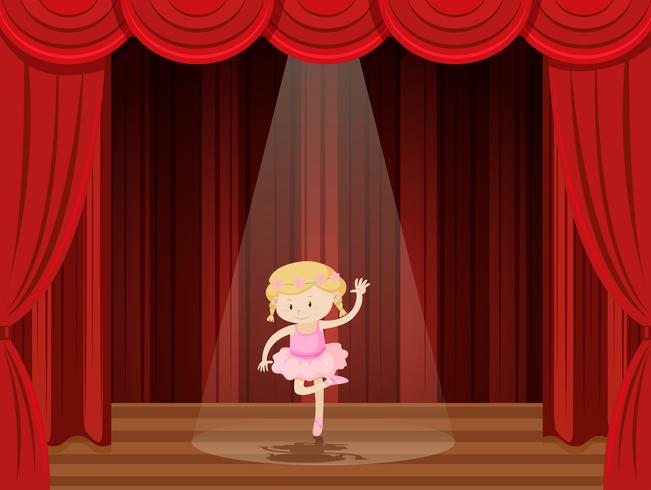 A girl perform ballet on stage.