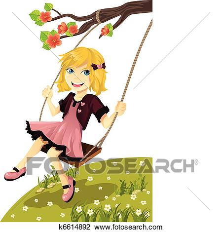 Girl on a swing Clipart.
