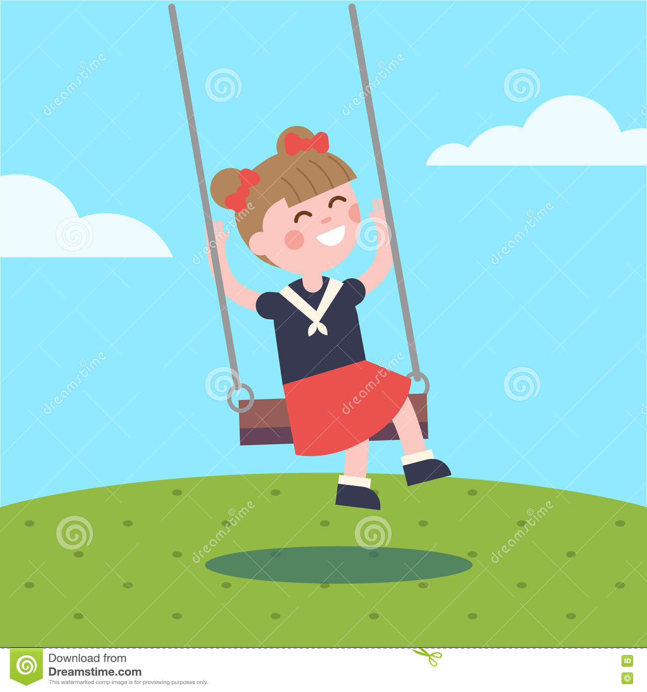 Girl Swinging On A Rope Swing Stock Vector.