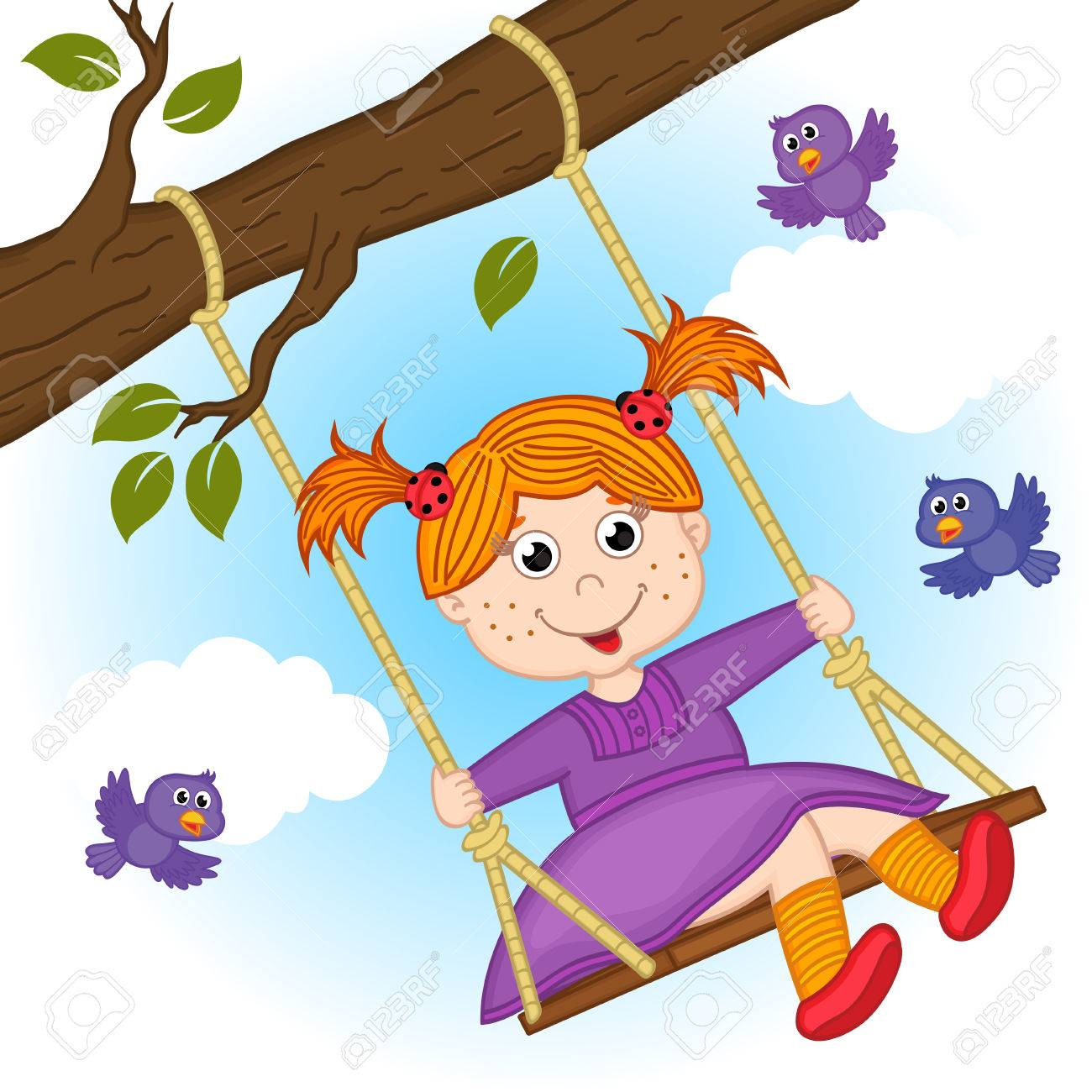 girl on swing on tree branch.