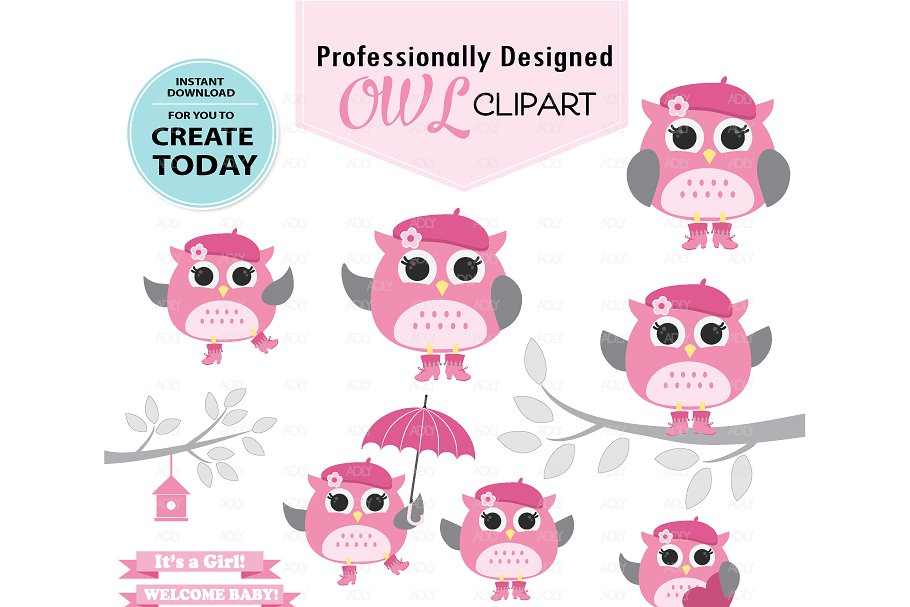 Girl owl clipart pink with gray wing.