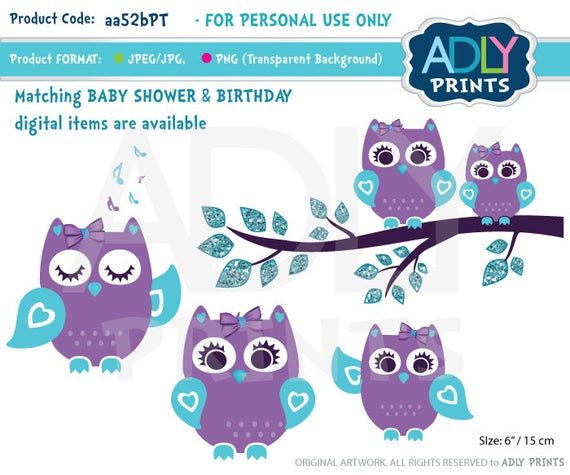 Purple Teal Girl Owl Clipart for Baby Shower, Birthday,all events. Mommy  baby owl, turquoise, lavender.