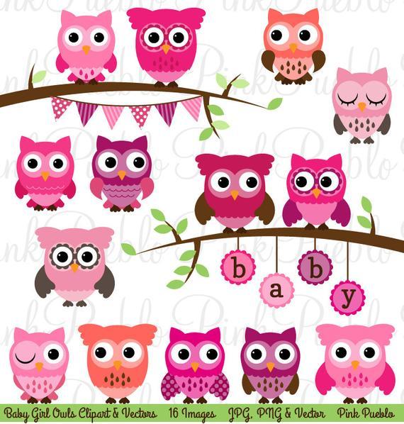 Baby Shower Girl Owl Clipart Clip Art, Girl Baby Shower Owl Bird Clipart  Clip Art Vectors.