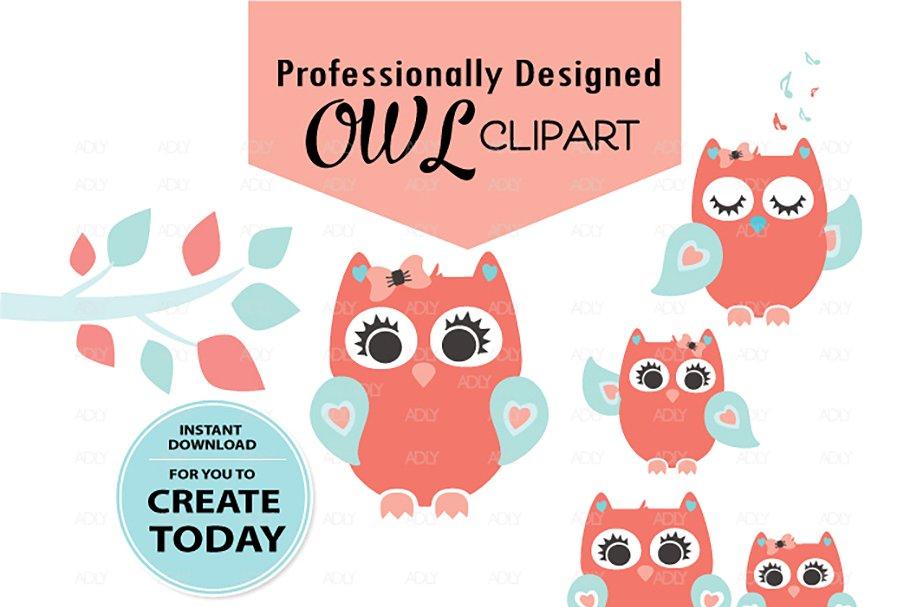 Girl Owl Clipart,Baby Peach turqoise.