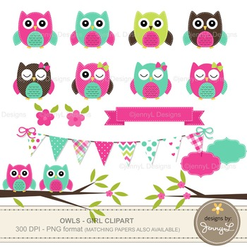 GIRL Owl Clipart, Turquoise and Hot Pink Stitched Owl, Tree Branch, Bunting.