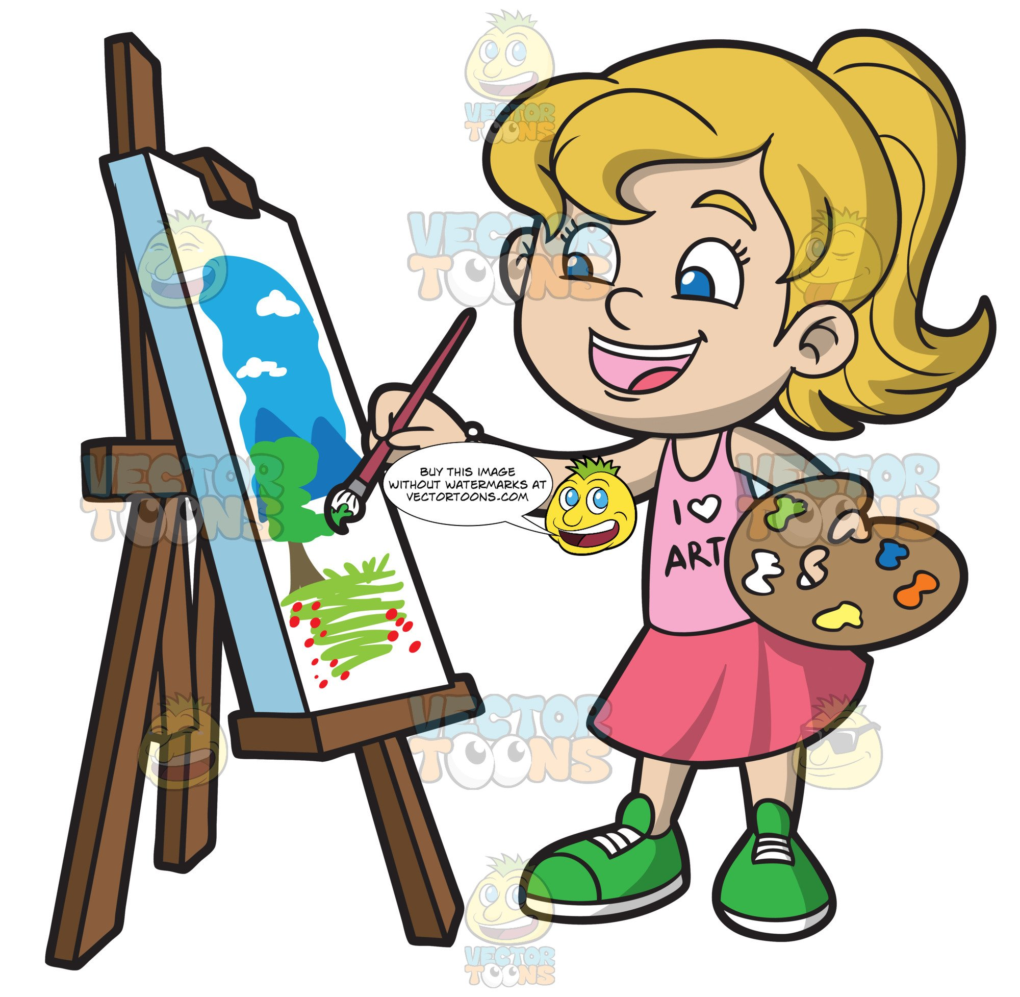 A Girl Painting A Landscape.