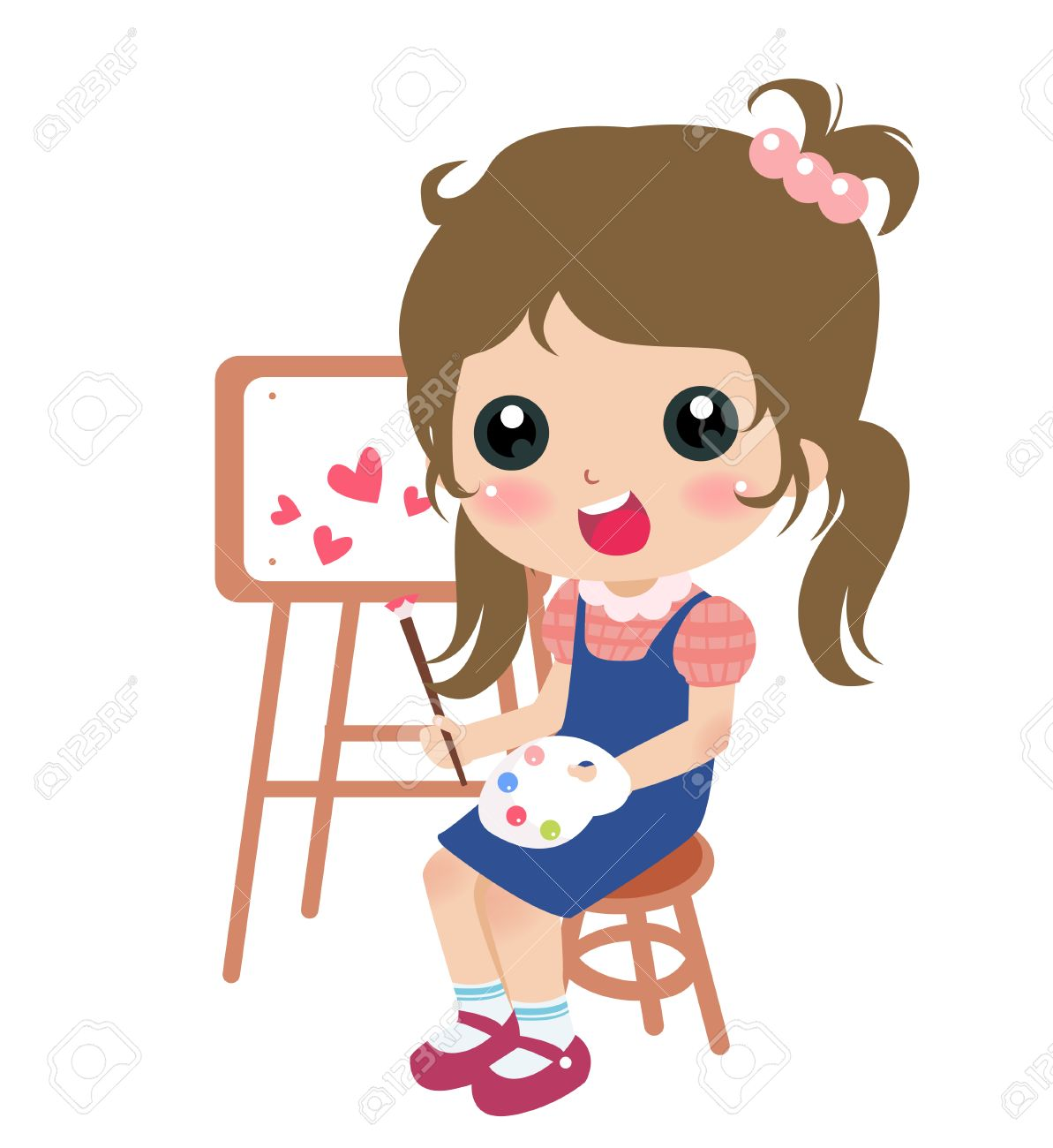 illustration of a cute little girl painting.