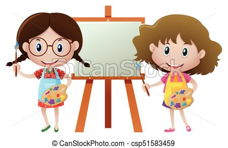 Two girls painting on canvas.