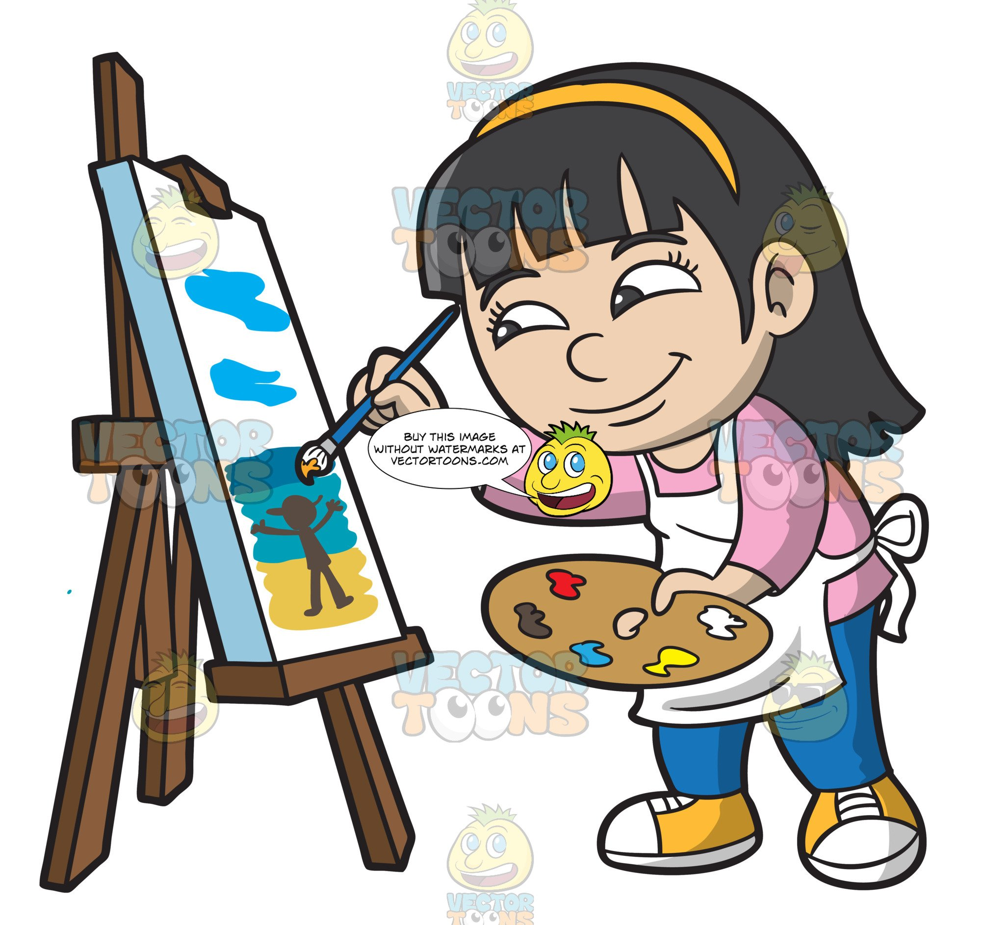 A Girl Painting A Seascape.
