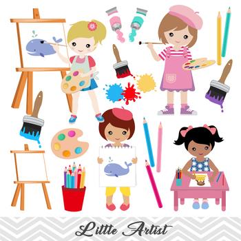 Digital Little Artist Girl Clip Art Painting Girl ClipArt Girl Art Party  Clipart.