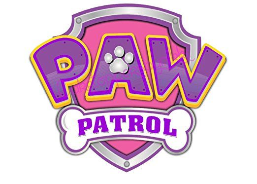 5 inch Pink & Purple Paw Patrol Logo Precut Icing.