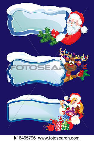 Clip Art of Set of horizontal banners with snowdrifts and icicles.