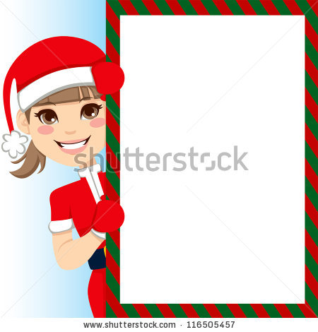 Pretty Santa Claus Girl Peeking Out Of Big Blank Billboard Sign.