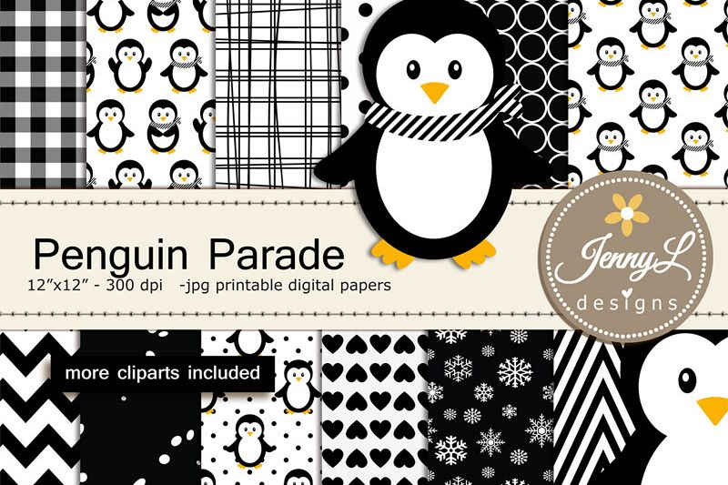 Penguin Girl Digital Paper and Penguin Clipart, Winter, Snow Penguins.