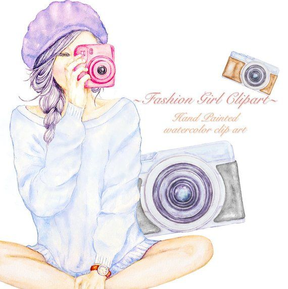 Photography Clipart, Girl with Cameras, Fashion Travel, Modern.
