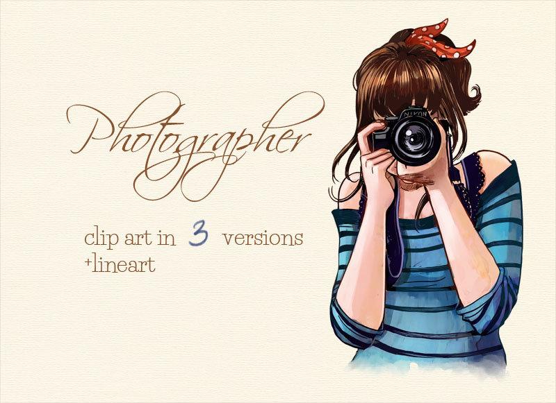 Photographer girl watercolor clip art.