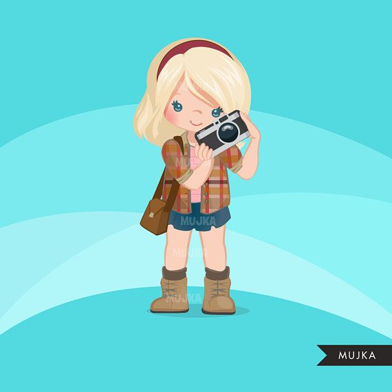 Photographer girls clipart, reporter characters, black, card.