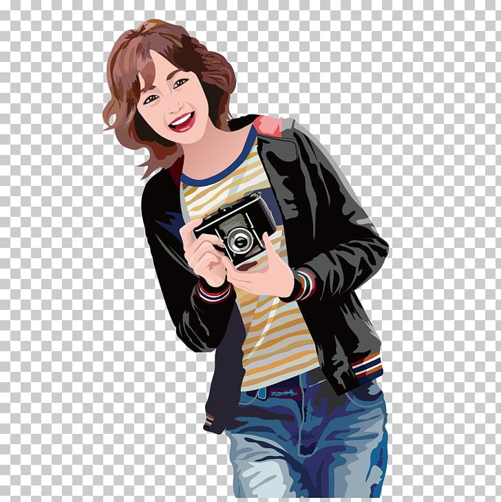Girl Illustration, Cute photographer, animated woman holding.