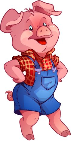 Boy and girl pig clipart.