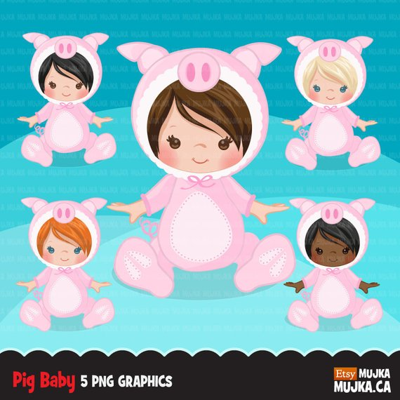 Baby pig clipart, halloween costume baby shower graphics.