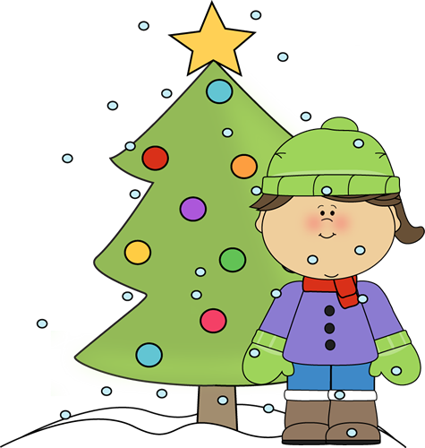 Little Girl with Christmas Tree in the Snow Clip Art.