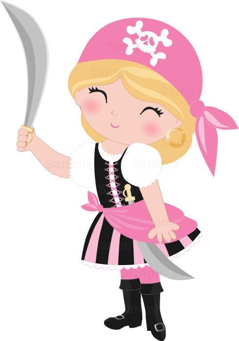 Pirate Girls Clip Art Set.