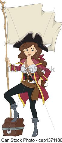 Girl Pirate with Treasure Chest.