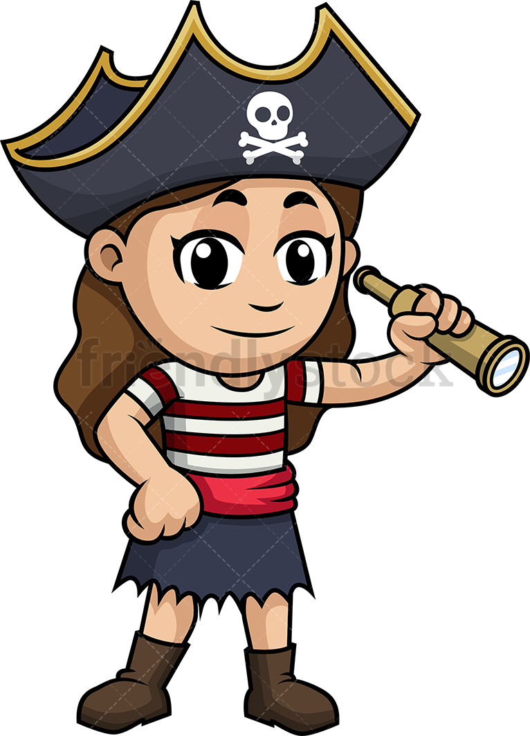 Little Girl Pirate With Spyglass.
