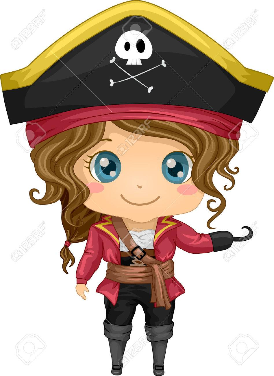 Illustration Featuring a Girl Wearing a Pirate Costume.