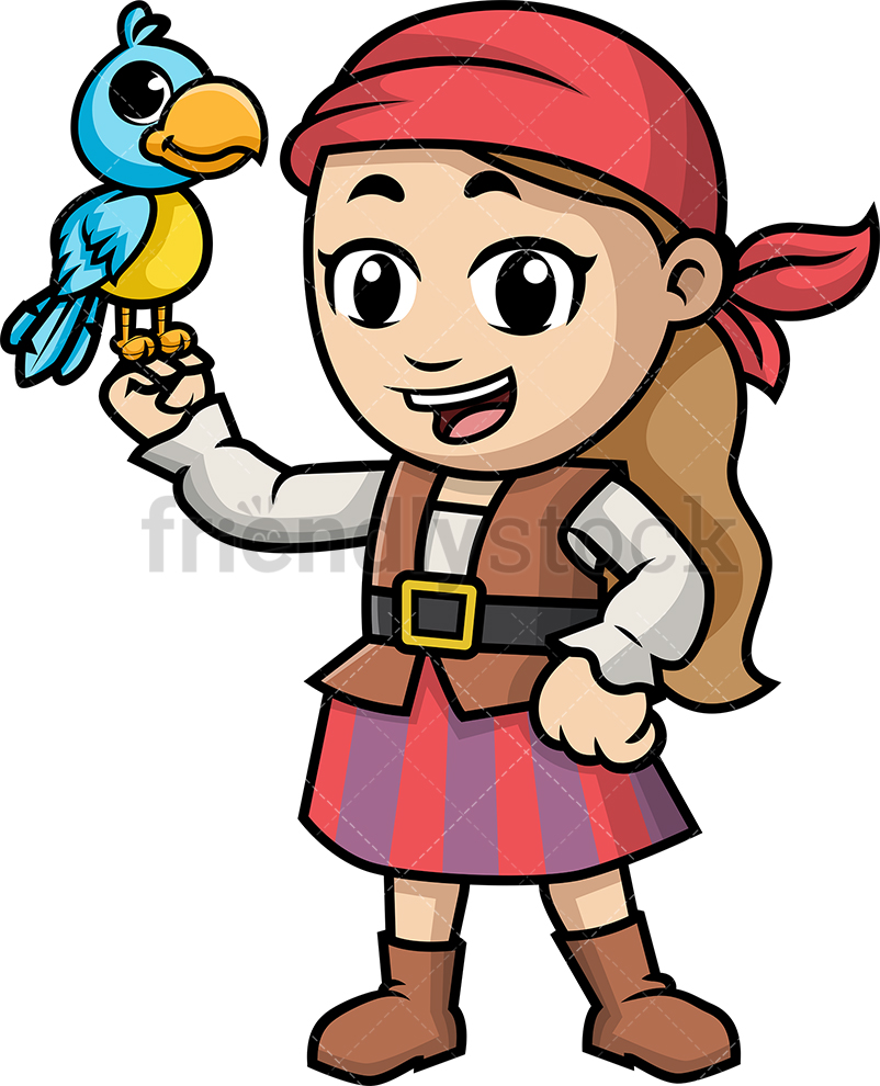 Pirate Girl Holding Parrot.