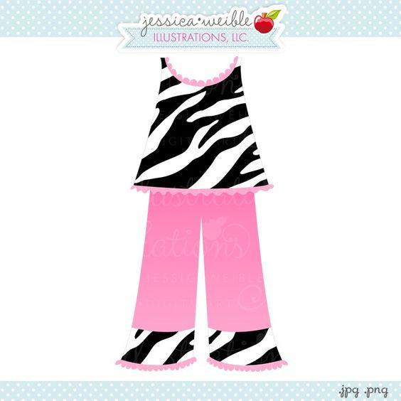 Girl Pajamas Clip Art.