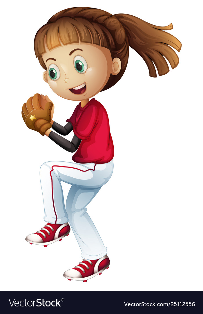 Girl playing baseball about to pitch.